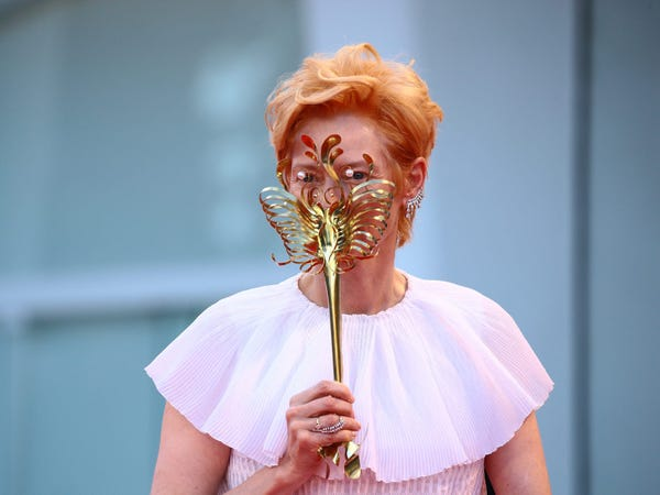 "Tilda Swinton's Stingray Face Mask- is the breakout star of the ""Venice Film Festival"""