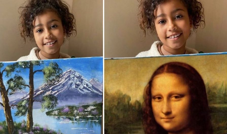 On Twitter, North West's popular painting sparkles funny images